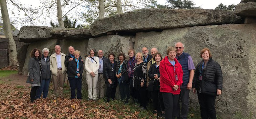Travelers outside a megalith in Saumur. Credit: Catherine Chamoux