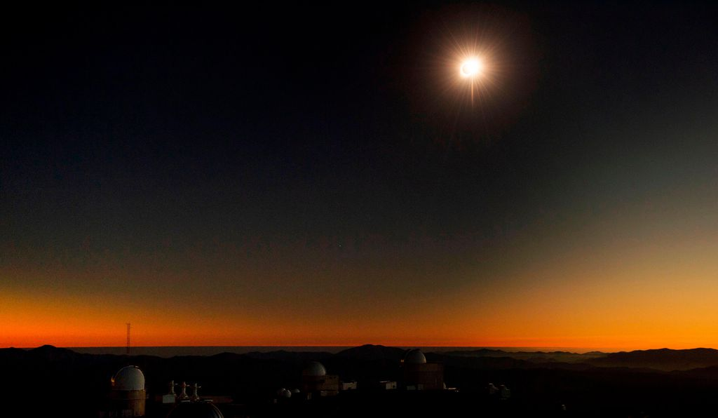 View of the solar eclipse from the La Silla European Southern Observatory (ESO) in La Higuera, Chile.