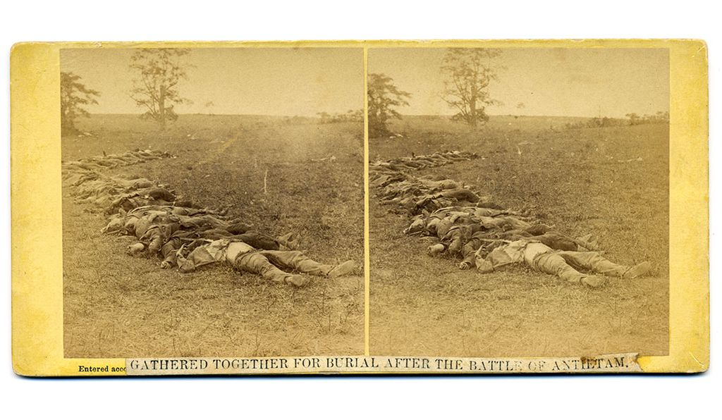 An 1862 photograph by Alexander Gardner depicts the  the dead on the field after the Battle of Antietam.