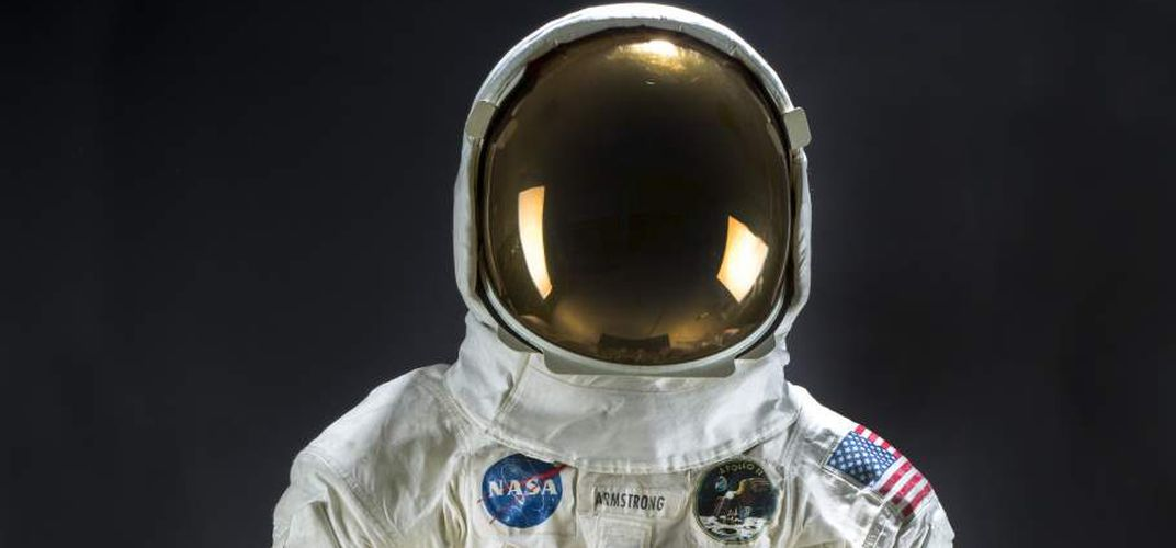 Caption: Neil Armstrong's Restored Spacesuit Put on Display