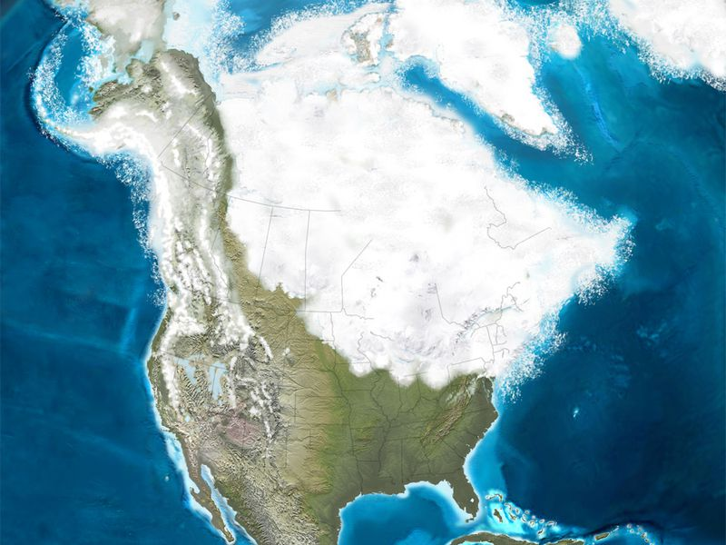 Glacier ice covers North America 126 thousand years ago.