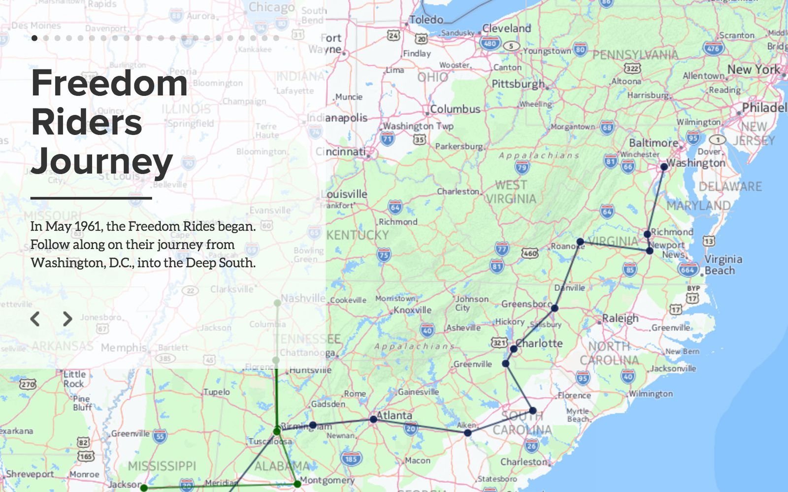 Follow the Path of the Freedom Riders in This Interactive Map ...
