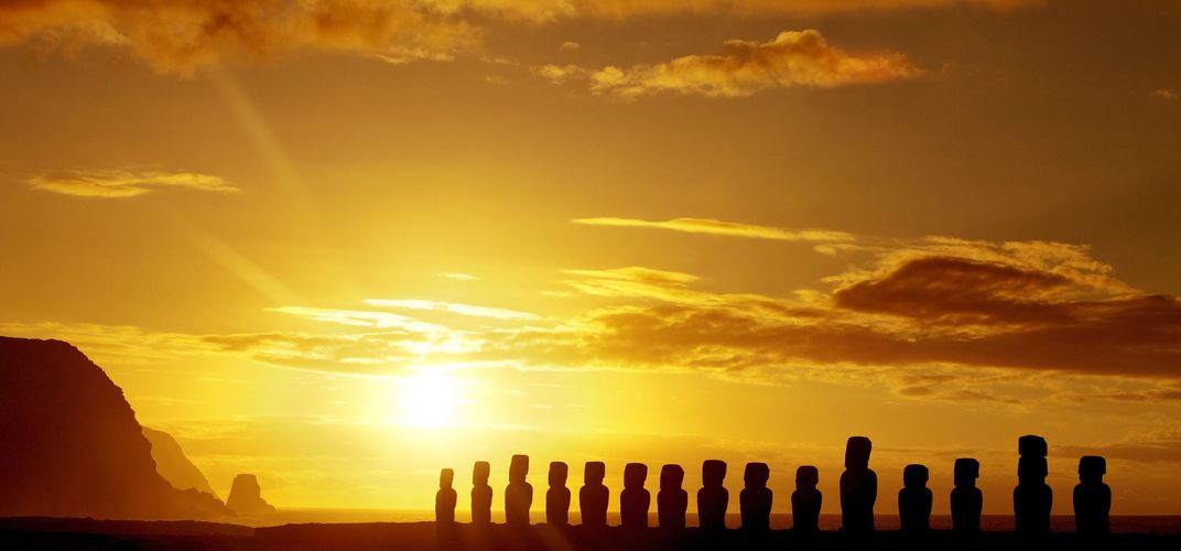 <i>Moai</i> on Easter Island at sunrise