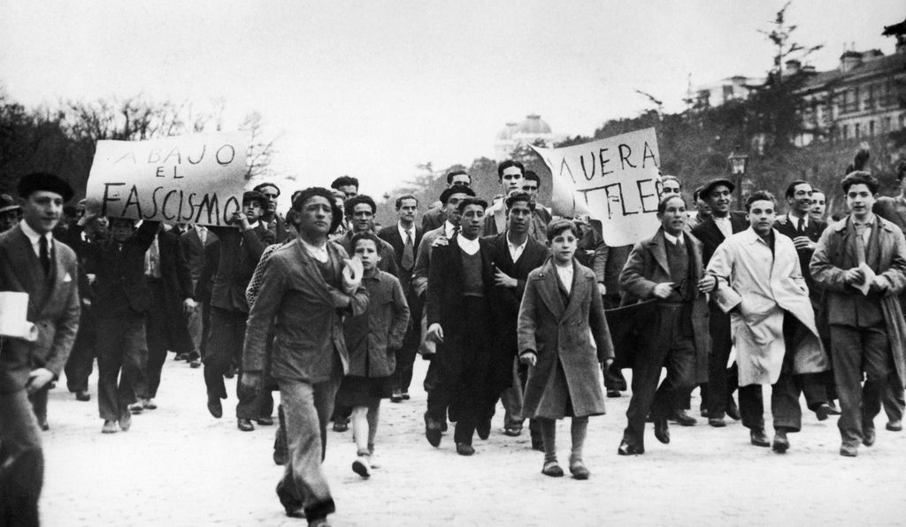 In Madrid, on March 30, 1933, students demonstrate against Nazism and Fascism.