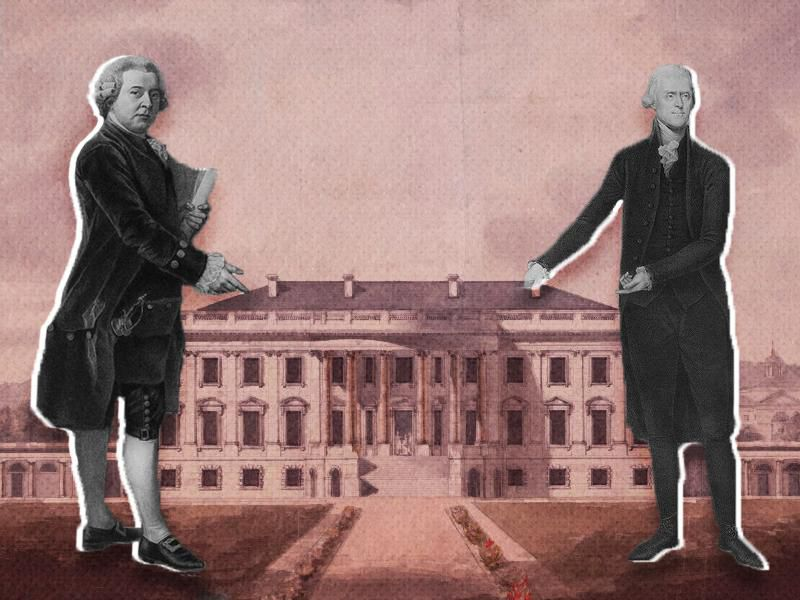 John Adams and Thomas Jefferson standing in front of the White House