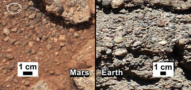 Comparing the conglomerate outcrop on Mars with a similar structure on Earth.