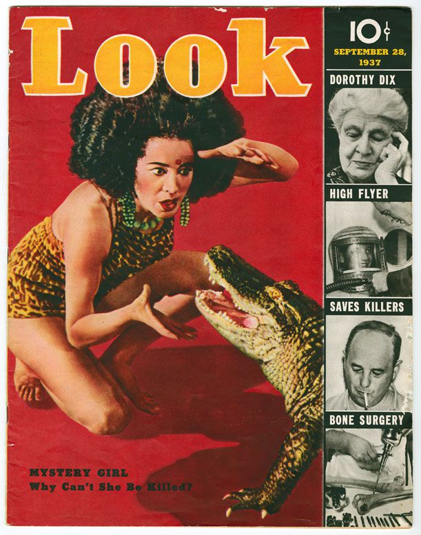 The self-described fakir Koringa confronts a crocodile in this 1937 Look magazine cover.