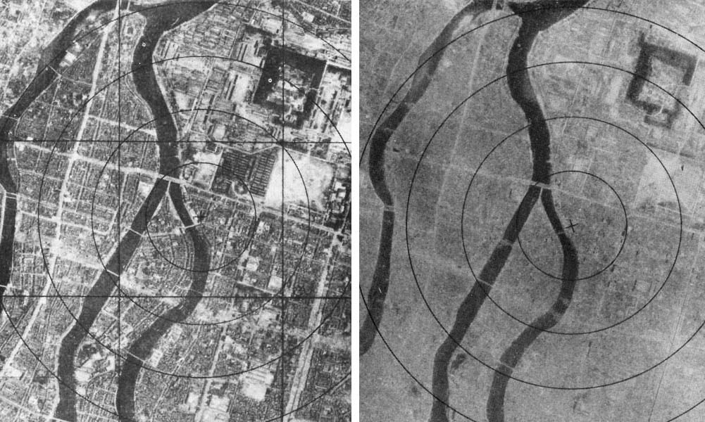 Aerial views of Hiroshima before and after the bombing