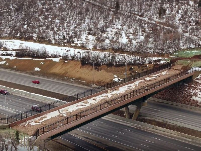 Photograph of the wildlife bridge over 6 lanes of traffic on Interstate 80