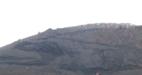 Mahanoy Mountain shows the scars of strip mining.