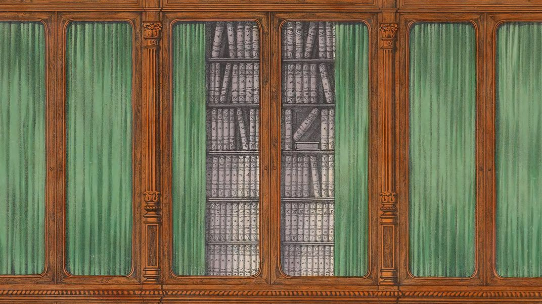 Book illustration of wall of book shelves with green curtains.