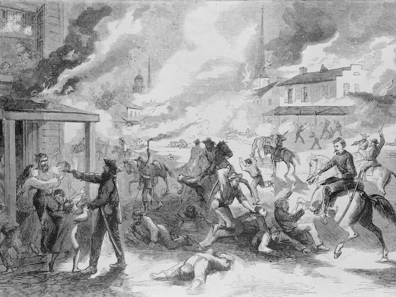 A print from Harper's showing Quantrill's raid on Lawrence, Kansas, August 21, 1863