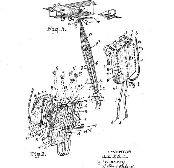 "Leslie Irvin, patent 1,323,983 for a ""safety parachute pack,"" 1918"