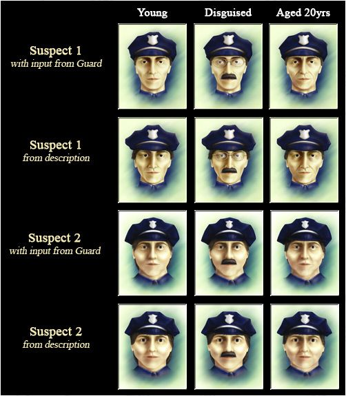 Portraits of the two white male suspects for the robbery, with different images indicating their disguises and what the men would have looked like if they aged 20 years