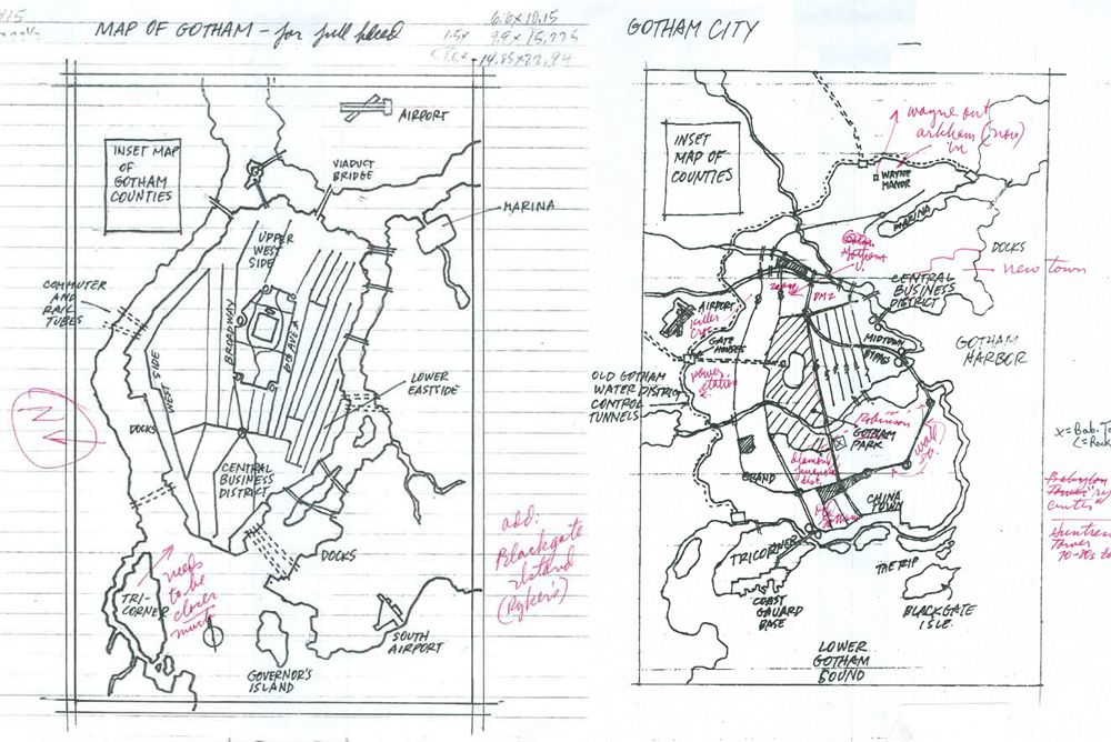 early development drawings for the map of gotham courtesy eliot r brown