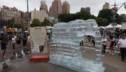 Watch as This Life-Size Elephant Ice Sculpture Melts in NYC