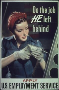 Posters aimed to recruit women to jobs left vacant by drafted men during the war.