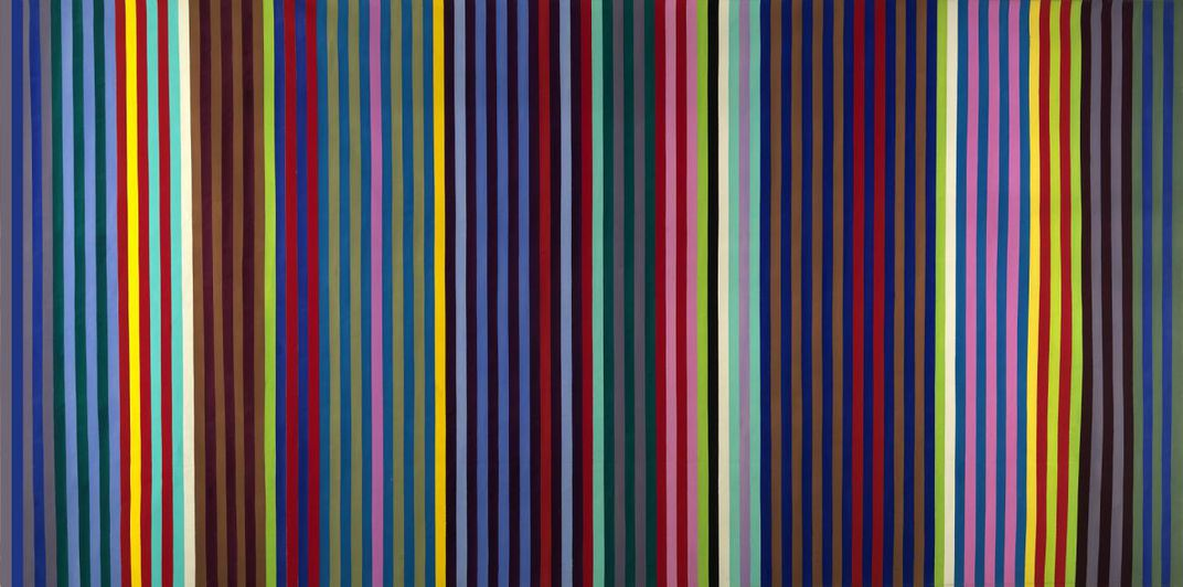 A painting with vertical stripes of different colors.