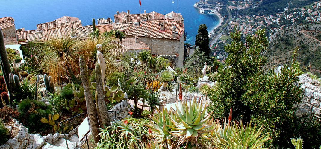 The hilltop village of Eze features both a magnificent view of the French Riviera and an amazing botanical garden of succulents.