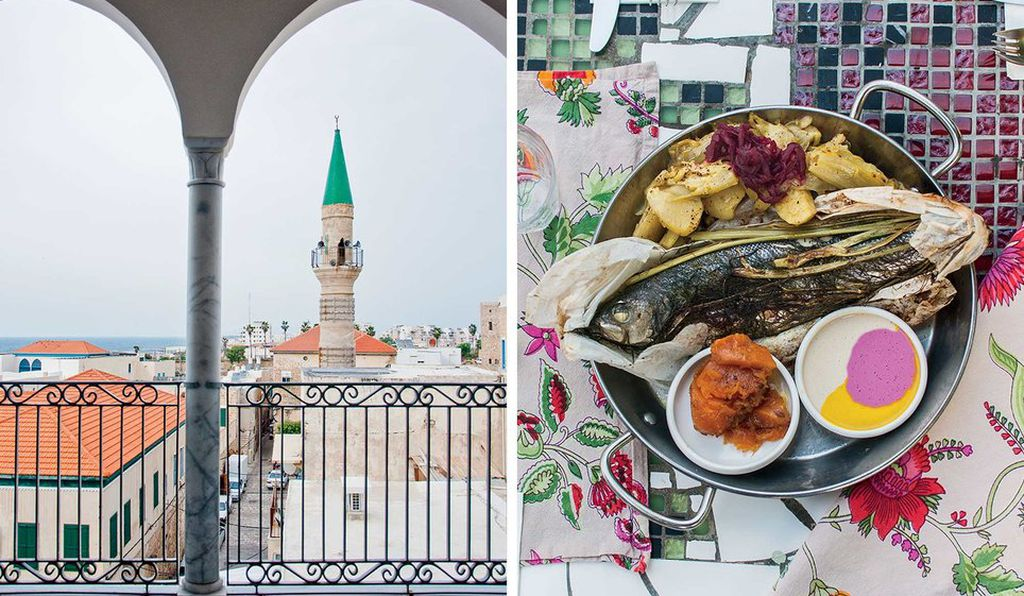From left: The minaret of Al-Jazzār Mosque, in Akko, seen from the Efendi Hotel; whole fish baked in parchment paper at Majda, in Ein Rafa
