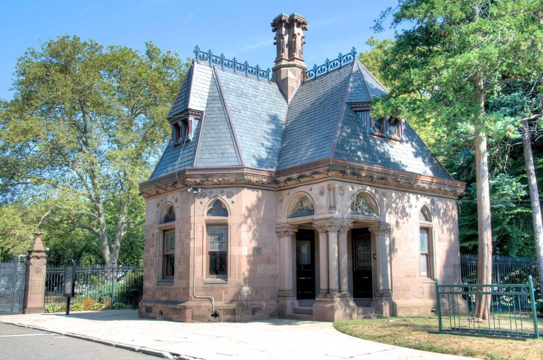 The Fort Hamilton Gatehouse in Green-Wood Cemetery, an ornate Gothic Revival structure built in 1873