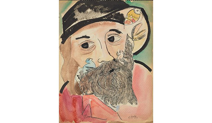 Sketchbook with portrait of Walt Whitman, 1977. Naul Ojeda papers, 1964-2002. Archives of American Art, Smithsonian Institution.