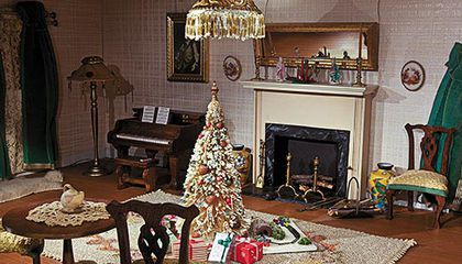 Dollhouse decorated for Christmas