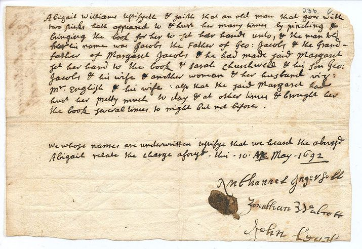 Salem Mass Witch Trial Death Warrant