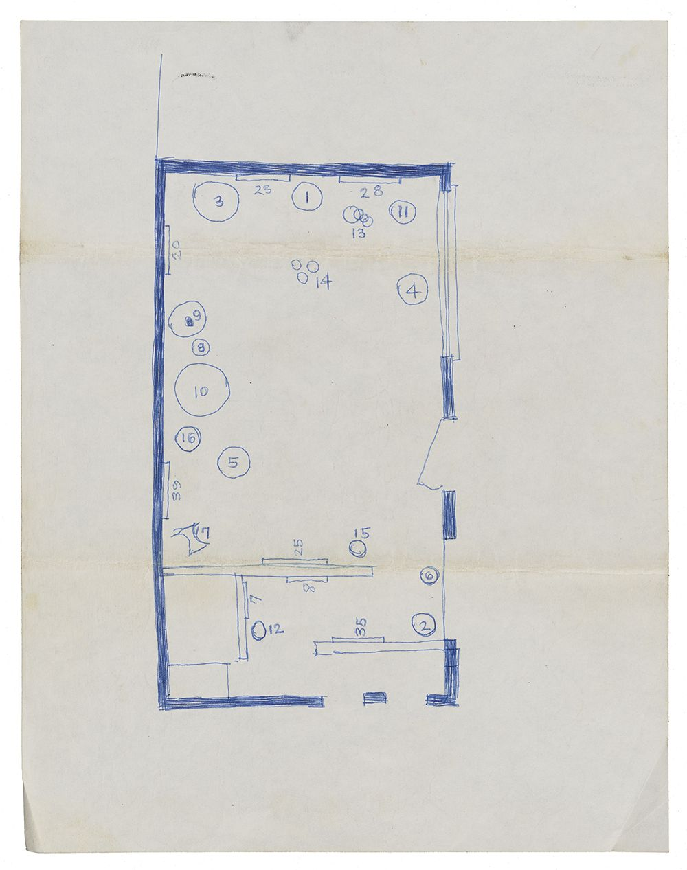 Exhibition plan for a gallery space in blue ink with numbers indicating where the sculptures will be installed.