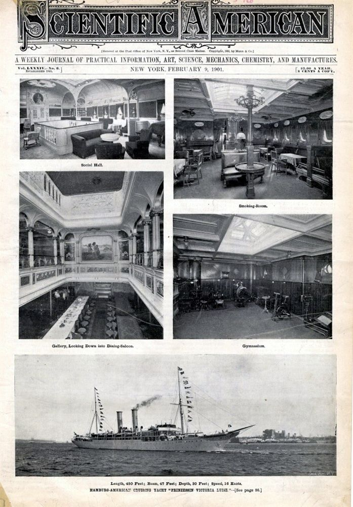 """1901 """"Scientific American"""" cover showing the interior and exterior of the ship"""