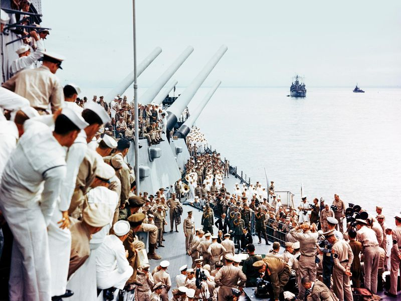 sailors watch surrender document be corrected