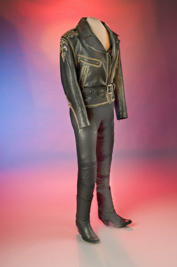 Leather pants and jacket mounted on a mannequin