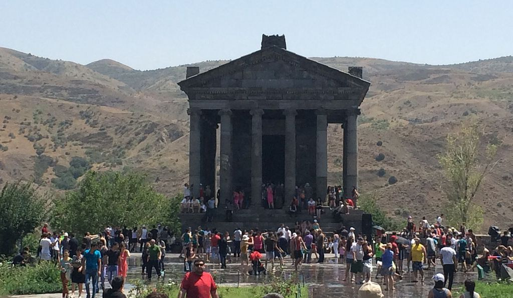 Vardavar celebrants at the Greco-Roman Temple of Garni in Armenia