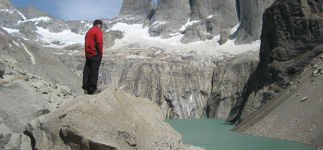Admiring the base of Torres del Paine