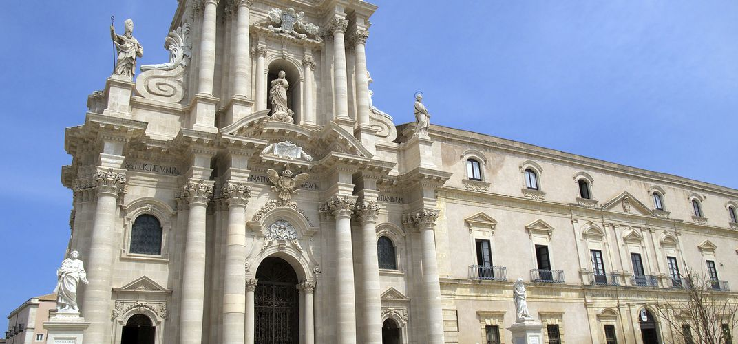 The Baroque cathedral in Siracusa, built on the ruins of a Greek temple