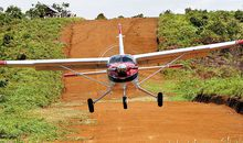 Bush flying has unique challenges. This Quest Kodiak gets a little extra thrust on takeoff from the slope of a dirt airstrip carved out of a hill in East Kalimantan, Indonesia.