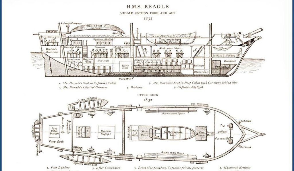 Blueprints of the HMS Beagle from 1832
