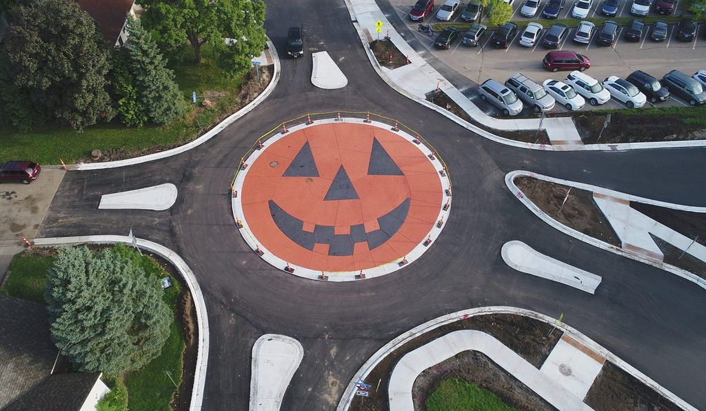 Anoka installed a pumpkin roundabout in 2017.