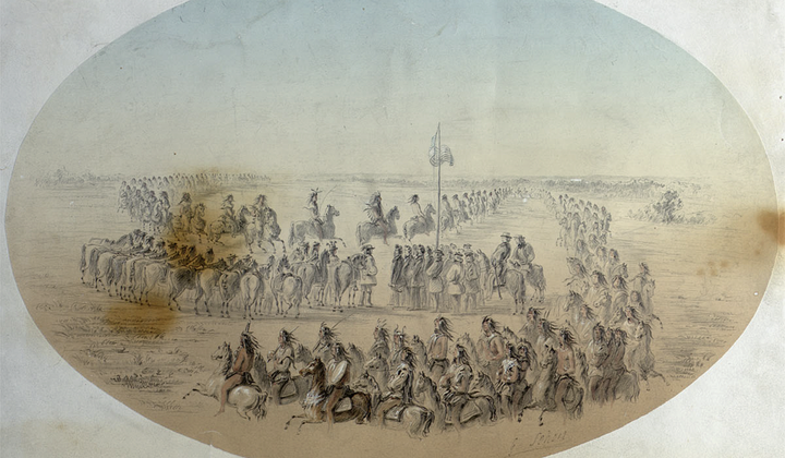Gustav Sohon (1825–1903), Arrival of the Nez Perce at the Walla Walla Treaty Council, May 18, 1855. (Washington State Historical Society)