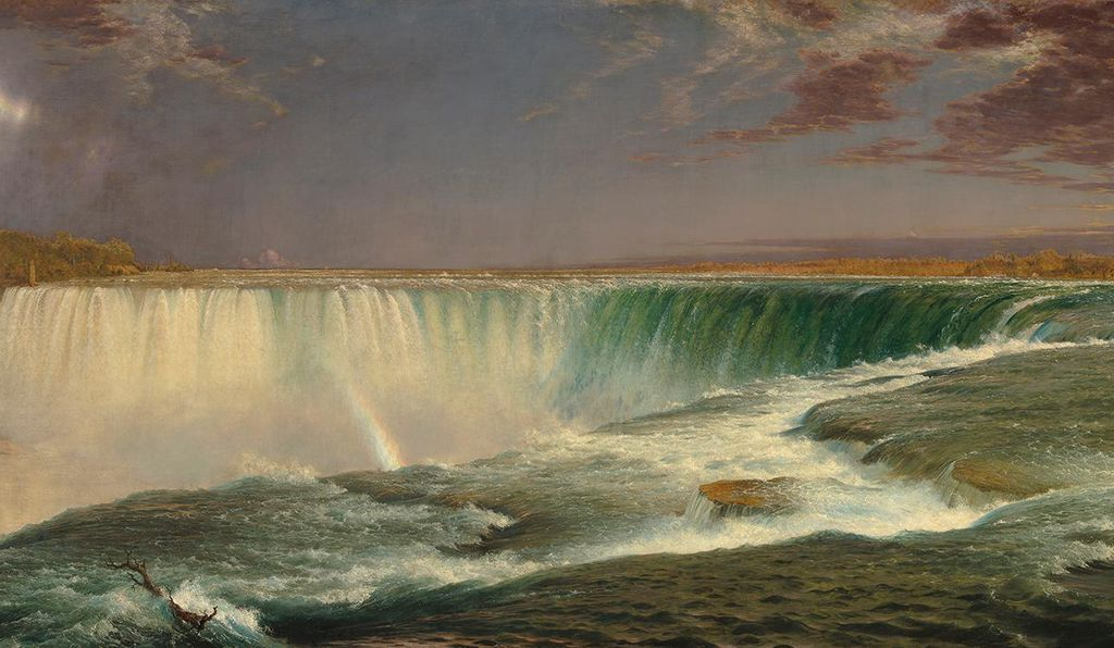 "Humboldt's six-week visit to the U.S. shaped its cultural identity from majestic formations like Natural Bridge and Niagara (above: by Frederic Edwin Church, 1857) to an appreciation of the Great Plains as a ""shoreless ocean"" rather than a ""great desert."""