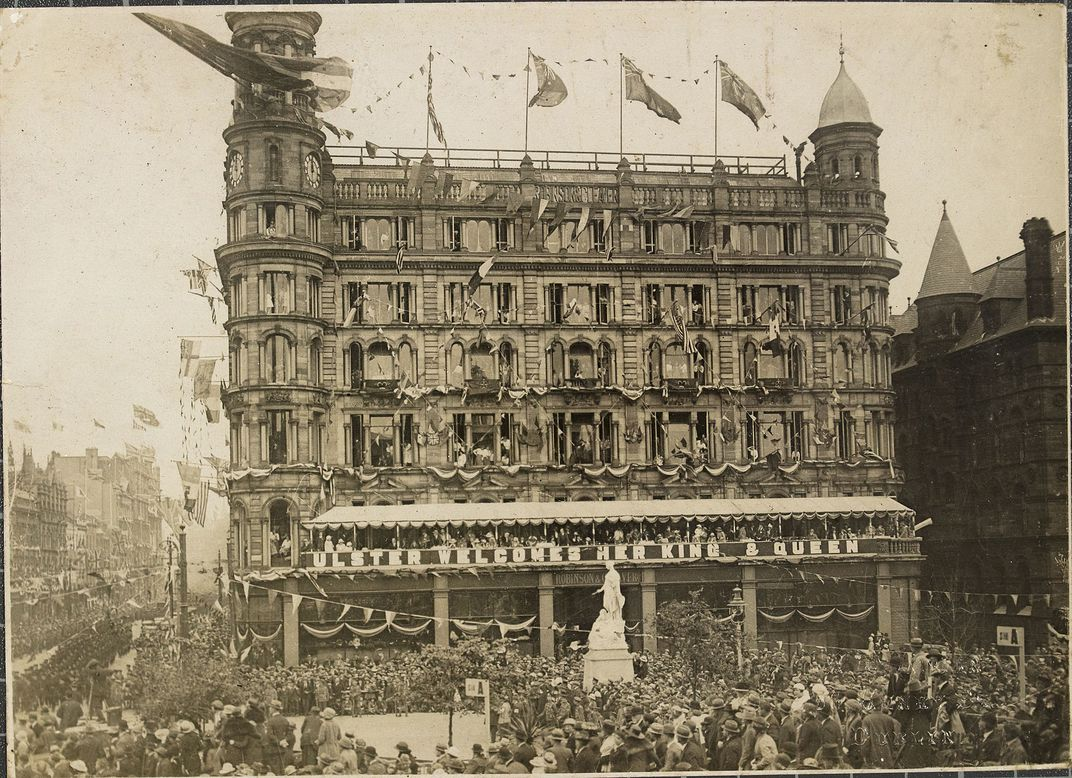 The Robinson and Cleaver Department Store in Belfast, decorated for the opening of the first Northern Ireland parliament