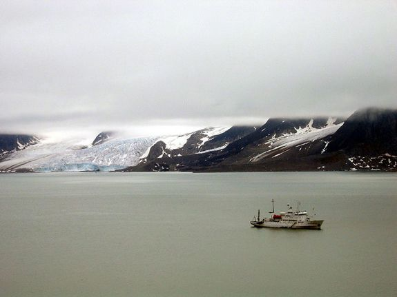 The Professor Molchanov sails off the coast of Svalbard.