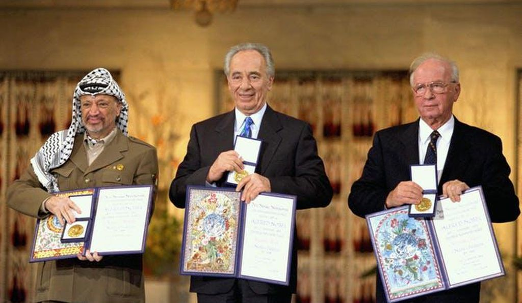 The 1994 Nobel Peace Prize was awarded to (from left to right) PLO Chairman Yasser Arafat, Foreign Minister Shimon Peres and Prime Minister Yitzhak Rabin. Many people were angry that the prize was awarded to Arafat.