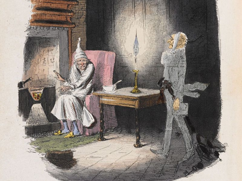 telling ghost stories on christmas was a tradition for hundreds of years here marleys ghost surprises ebenezer scrooge in an illustration from the first