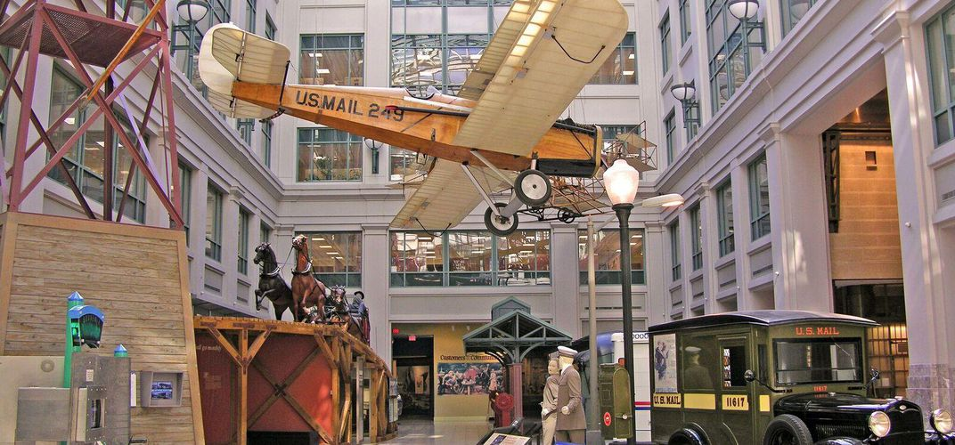 Exhibits in the atrium of the National Postal Museum
