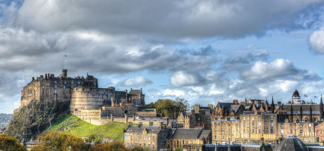 Skyline of Edinburgh with Edinburgh Castle and St. Giles Church
