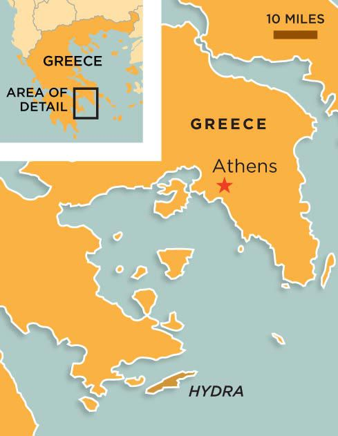 Hydra Greece map