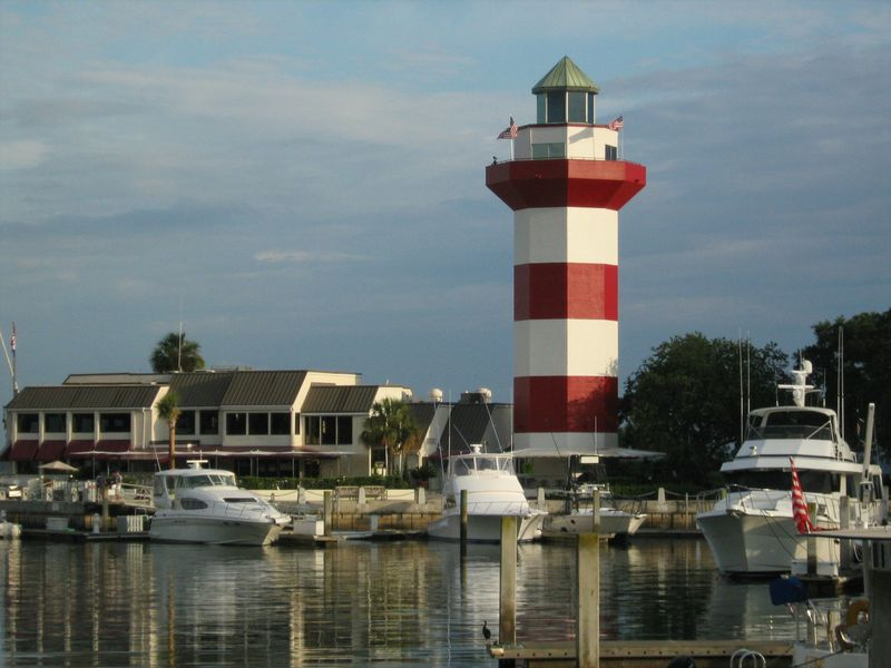 Harbour Town Marina in Sea Pines Resort with the Harbour Town Lighthouse