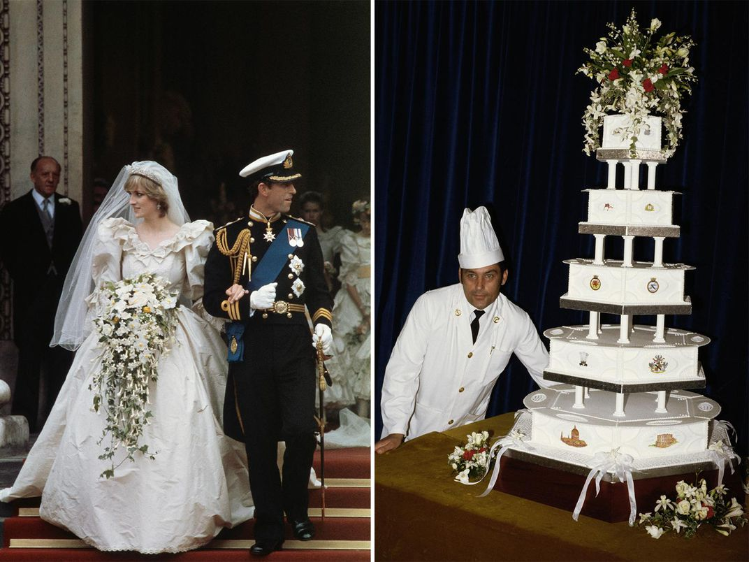 Left, Princess Diana in a puffy-sleeved wedding gown with a massive bouquet of flowers, with Prince Charles, just after getting married; right, head chef David Avery poses next to an enormous, multitiered white cake