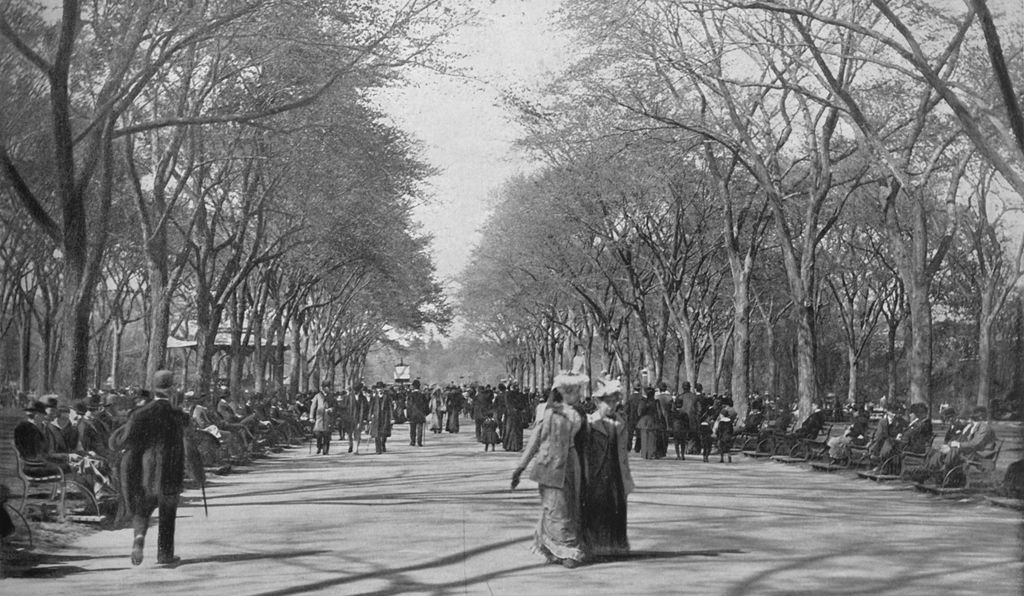 The Mall, Central Park, New York', circa 1897. A pedestrian esplanade in Central Park, Manhattan designed to plans by plan of Frederick Law Olmsted and Calvert Vaux.